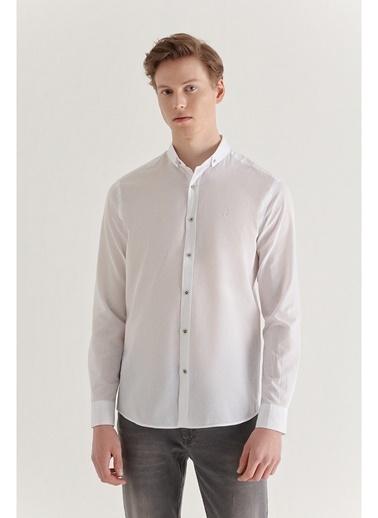 Avva  Erkek Vizon Düz Düğmeli Yaka Slim Fit Uzun Kol Vual Gömlek A11B2206 Beyaz